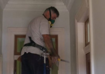 Paul the plasterer restoring an ornate ceiling